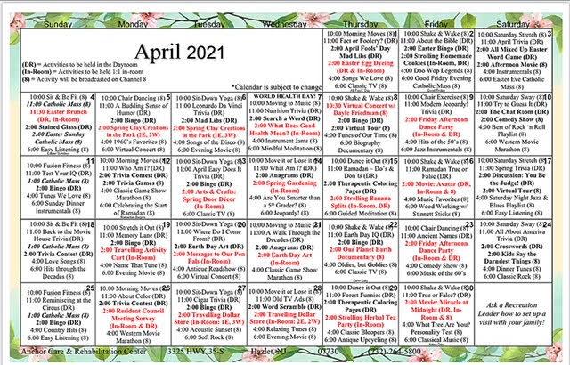 Anchor Care April Calendar 2021