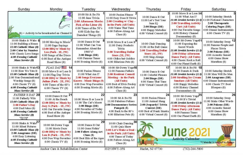 Anchor Care June 2021 Calendar