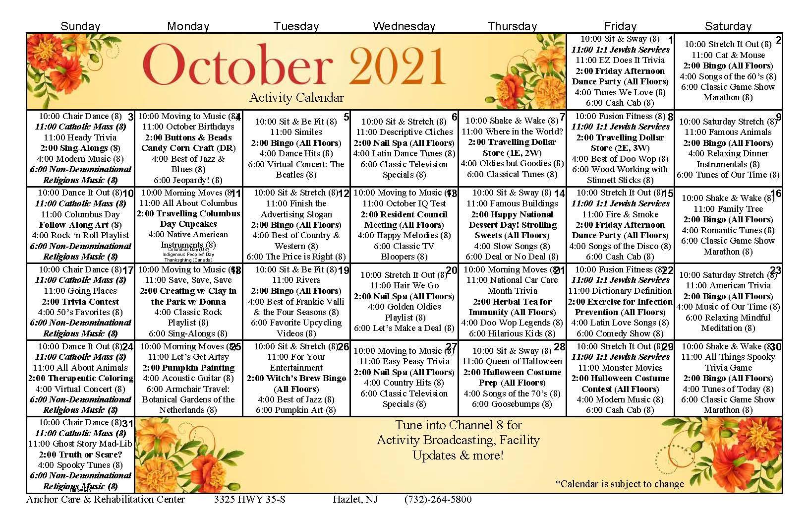 Anchor Care October 2021 Calendar